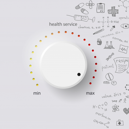 medical background: health service on gray background with medical formulas