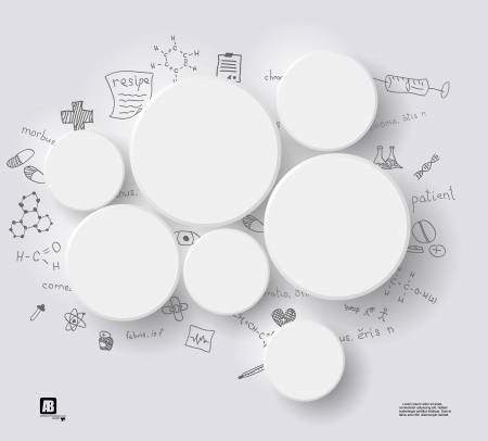 White circles on gray background with medical formulas Vector