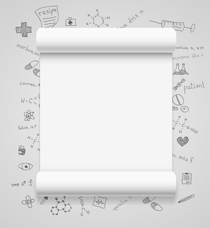 Blank scrolls of white paper