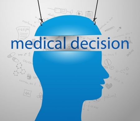 Man head silhouette and lettering of medical decision Vector