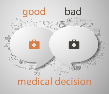 clinical research: White speech bubble concept  medical decision Illustration