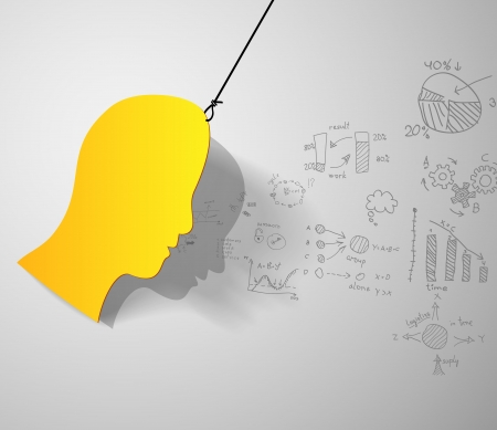 Yellow man head silhouette with business signs Illustration
