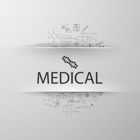inscription medicine with formulas on the background Illustration