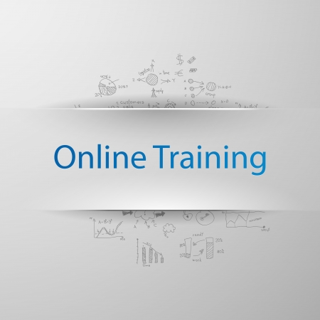 "Education concept  inscription  ""Online training"" with formulas on the background Vector"
