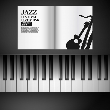 piano keys: Jazz party poster: blank open notebook on the white background