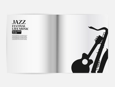 sheetmusic: Jazz party poster: blank open notebook on the white background