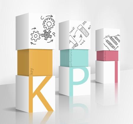 3D-Darstellung Konzept: KPI Vektorgrafik