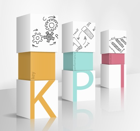 Illustrazione 3d concetto: KPI Vettoriali