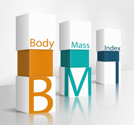box weight: 3d illustration concept: Body Mass Index (BMI)