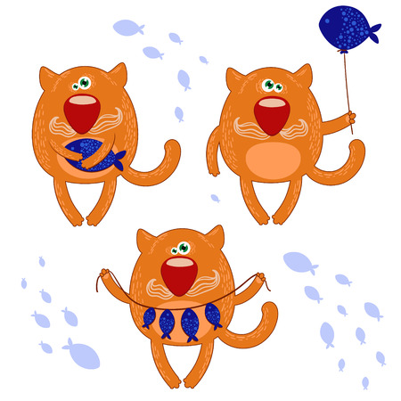 Cute funny cat with fish set  Illustration