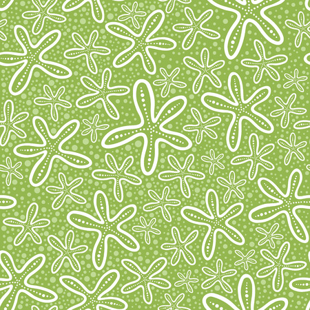 Shell seamless pattern on spotted background Illustration