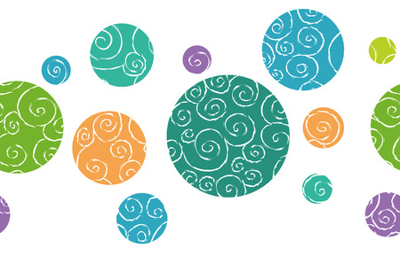 doodled: Seamless border pattern with doodled colorful circles