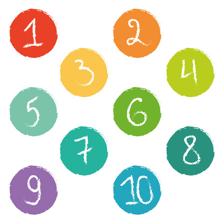 Set of ten colorful numerical circles Vector