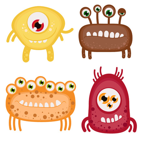 toothy: Set of four funny toothy monsters