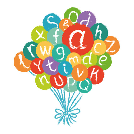 like english: Funny english alphabet, hand drawn chalk like in colorful air balloons