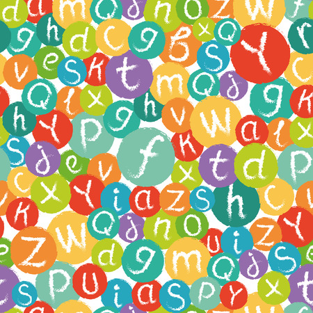 like english: Seamless pattern - funny english alphabet. Hand drawn chalk like letters in colorful circles. Illustration