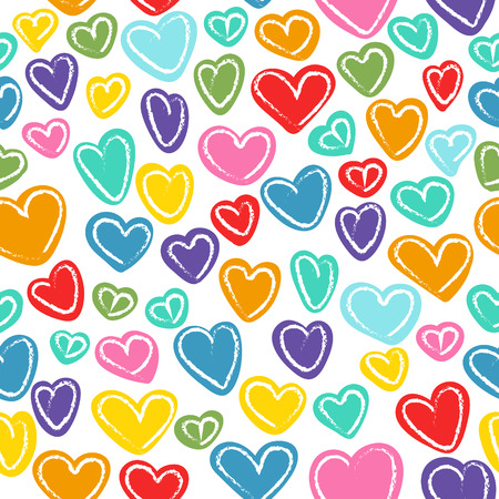 doodled: Seamless pattern with many colored hand drawn doodled hearts Illustration