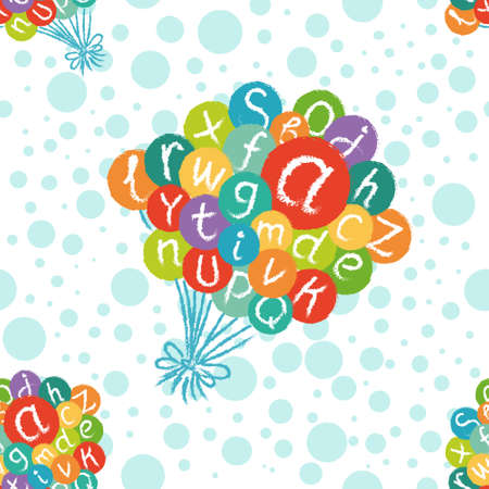 like english: Seamless pattern - funny english alphabet. Hand drawn chalk like letters in colorful air balloons. Illustration