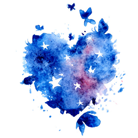 Watercolor hand drawn vector illustration - cosmos heart with stars and butterflies