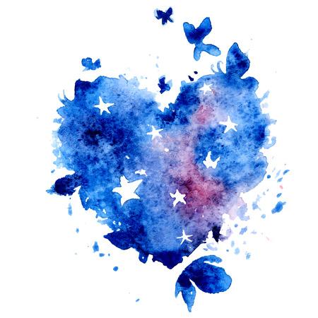 Aquarel hand getrokken vector illustratie - kosmos hart met sterren en vlinders Stock Illustratie