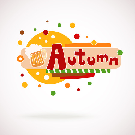 graffity: Illustration of colorful word AUTUMN with mug of beer and hand written text (scrapbook and graffity style).