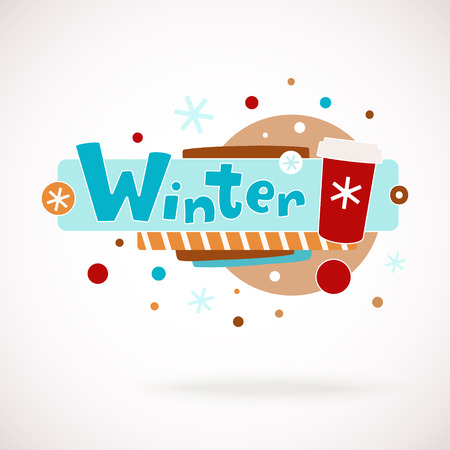 graffity: Vector colorful word WINTER with coffee cup, snowflakes and hand written text (scrapbook and graffity style). Illustration