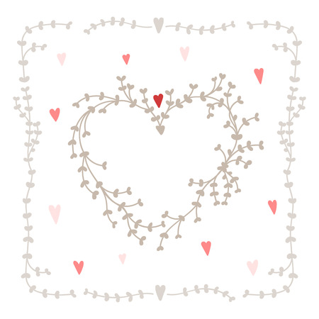 Vector set with square wreath elements and hearts, good for wedding invitations and valentines day cards Illustration