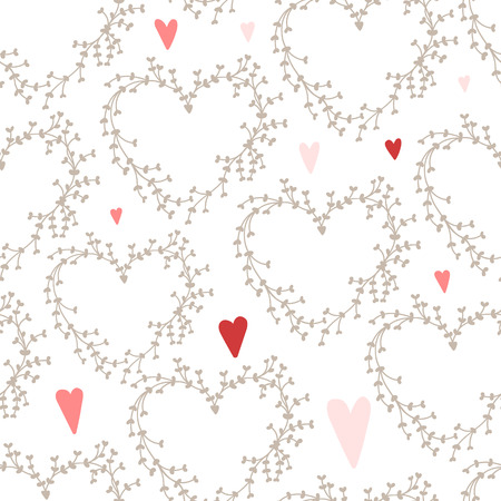 Vector hand drawn pattern with wreaths and red hearts, good for wedding invitations and valentines day cards Vector