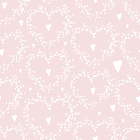Vector hand drawn seamless pattern with wreathes and hearts, Good for weddingengagement invitations and valentines day cards. Vector