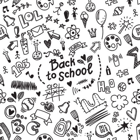 School seamless vector doodle pattern with different school supplies. Illustration