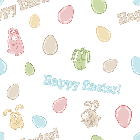 Seamless vector pattern with cute easter eggs, bunnies and words HAPPY EASTER! Vector