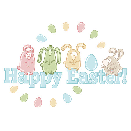 Vector easter greeting card with cute easter eggs, bunnies and words HAPPY EASTER! Vector