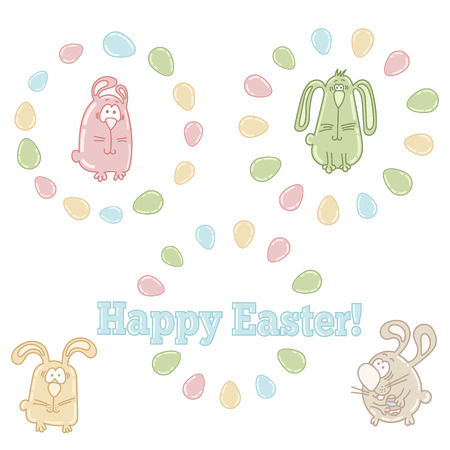 Vector set of easter symbols - easter eggs, bunnies and words HAPPY EASTER! Vector
