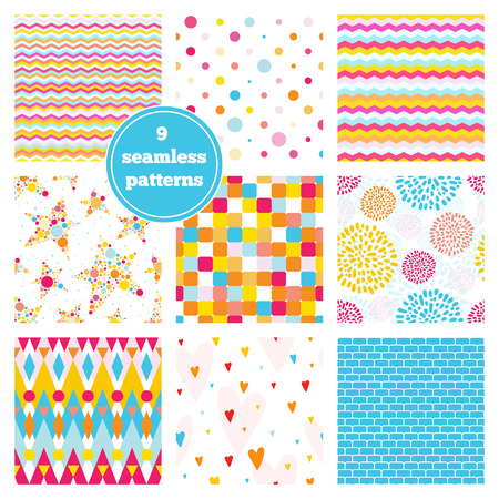 with sets of elements: Vector set of nine rainbow seamless patterns - chevron, hearts, stars, dots, bricks, geometric, peony. Ideal elements for scrapbooking sets, wrapping paper, invitations, greeting cards,etc