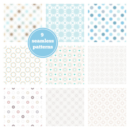 with sets of elements: Vector set of nine blue seamless geometric patterns. Ideal elements for scrapbooking sets, wrapping paper, invitations, greeting cards,etc