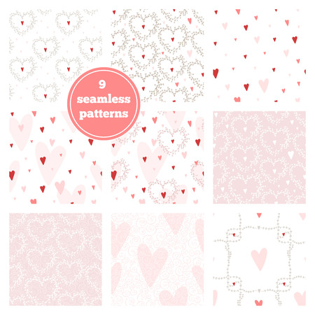 with sets of elements: Vector set of nine pink seamless patterns - hearts, wreaths, branch frames, swirls. Ideal elements for scrapbooking sets, wrapping paper, invitations, greeting cards,etc Illustration
