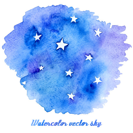 Vector abstract watercolor background with paper texture. Hand drawn night sky with stars, stain watercolors colors on wet paper. Good for invitations, scrapbooking,etc
