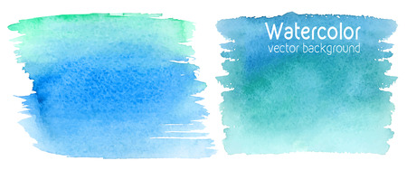 Vector set of abstract watercolor background with paper texture. Hand drawn watercolor backdrop, stain watercolors colors on wet paper. Good for invitations, scrapbooking, banners, tags, labels, etc Illustration