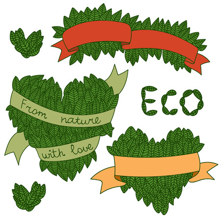 good nature: Set of leaves with ribbon and words From nature with love! Good for tags, labels, logo. Illustration