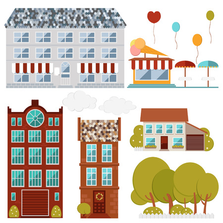 old fashioned: Set of flat vector buildings (cafe, house, restaurant, old fashioned house) and trees. Illustration