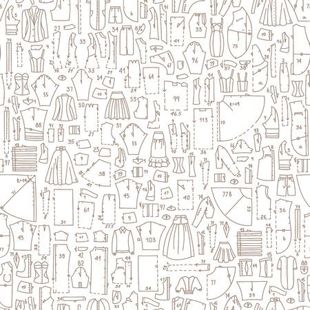 Seamless Hand Gezeichnet Doodle Muster Mit Kleidung Und ...