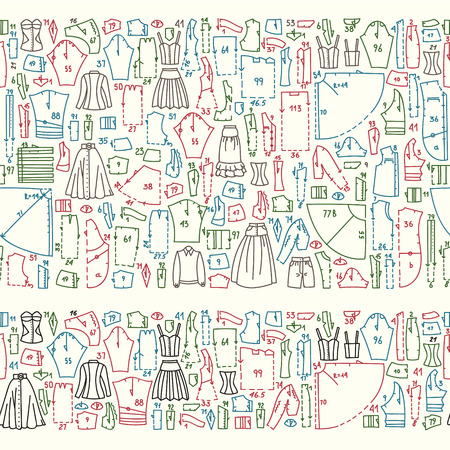 sewing pattern: Seamless hand drawn doodle borders with clothes and sewing patterns. Good for different templates, scrapbooking, package and wrapping paper, etc Illustration