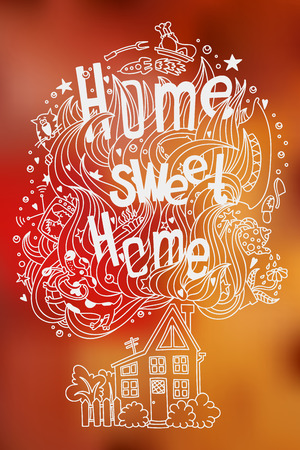 coziness: Hand drawn doodled slogan HOME SWEET HOME with symbols of home and coziness on blurred background. Good for postcard, greeting card, etc. Illustration