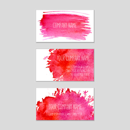 Set of business cards with watercolor background.   Watercolor on wet paper. Watercolor composition for business cards with space for company name.