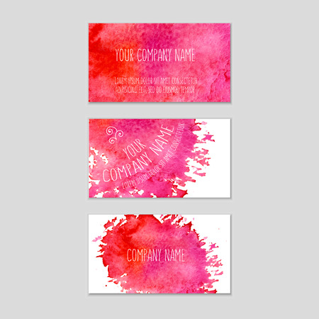 business card in hand: Set of business cards with watercolor background. Vector eps 10 illustration. Watercolor on wet paper. Watercolor composition for business cards with space for company name.