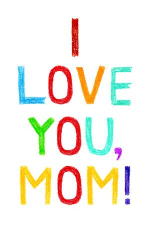 te quiero: Frase TE QUIERO, MAMÁ, el estilo de escritura del niño. Dibujado a mano la tarjeta de felicitación colorida de la Madre