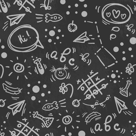 Seamless doodle hand drawn pattern BACK TO SCHOOL with different symbols of education, childrens stuff, stationery. Good for school stationery, announcements background, etc.