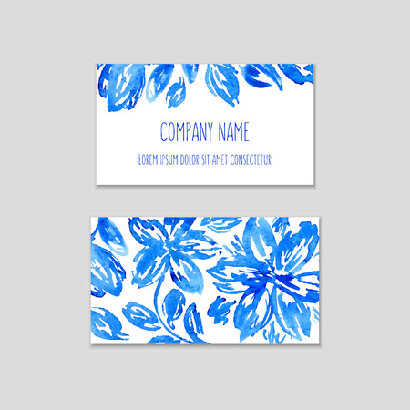 Set of business cards with watercolor floral background. Vector eps 10 illustration. Watercolor flowers on wet paper. Hand drawn composition for business cards or gift tags with space for company name.