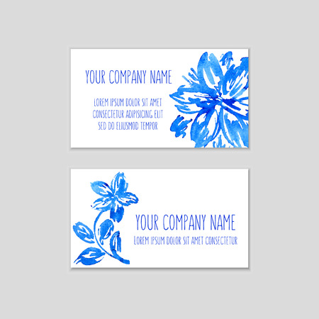 Set of business cards with watercolor floral background. Vector illustration. Watercolor flowers on wet paper. Hand drawn composition for business cards or gift tags with space for company name. Illustration