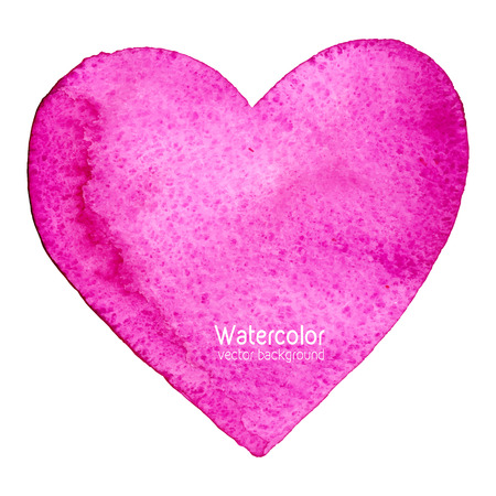 Vector watercolor splash background with paper texture, shaped as a heart, symbol of love. Hand drawn watercolor backdrop, stain watercolors colors on wet paper. Good for invitations, scrapbooking, banners, tags, labels, etc Illustration